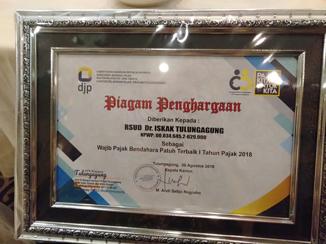 Wajib Pajak kategori Bendahara Patuh Terbaik 1 tahun pajak 2018